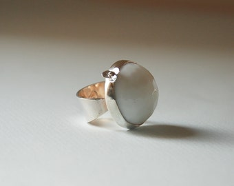 White Onyx Sterling Silver Ring Silver Flower