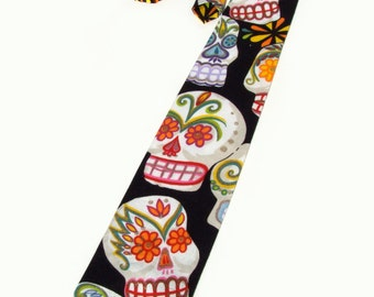 Sugar Skull Day of the Dead Necktie | Mens Tie