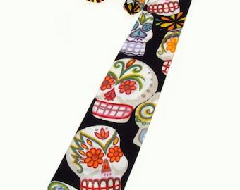 Sugar Skull Day of the Dead Necktie | Mens Tie