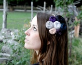 SALE Rosette Silk Flower Headdress Headband Statement Couture Roses Indigo Blue Plum Silver Gray Black Pink Headband Chic
