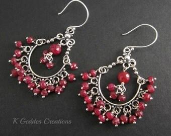Ruby Earrings, Sterling Silver, Genuine Ruby Dangle, Wire Wrapped Gemstone Chandelier Earrings