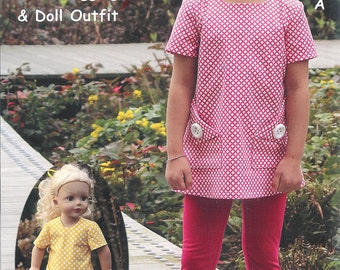 STYLIN' ~ Tunic, Leggings and Matching Doll Outfit ~ Multi-sized Sewing Pattern for Girls ~  Sizes 3-10 ~ Olive ann designs OAD85