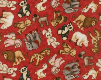 Toy Animals on Red Background ~ RJR Fabrics ~ Where the Toys Are Collection  ~ 1/2 Yard Cut ~ 100% Cotton Fabric ~ 1711-2