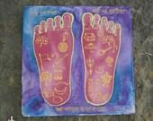 Lotus Feet of Lord Nityananda Silk Painting