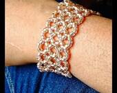 Pink Wide Beaded Cuff Bracelet, Blush Pink Jewelry, Pink Rose Statement Bracelet, 8 Inch Bead Woven Bracelet, Spring Bracelet