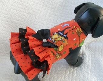 Halloween Dog Dress with three ruffles and built in harness Custom Made