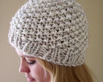 Knit Chunky Hat Oatmeal, Chunky Knit Beanie Hat, Knit Winter Hat Cream, Oatmeal Hat, Trends, Big Knit Winter White Hat, Knit Cream Toque