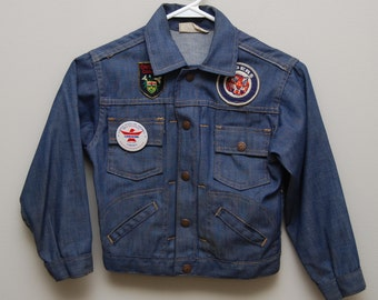 1970's kids jean jacket with patches/ 70's kids jean jacket/ Detroit Tigers/ Ontario, Canada