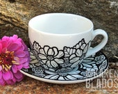 Doodlicious Floral Teacup and Saucer Set