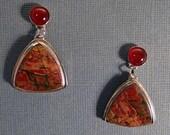 Handmade red creek jasper, carnelian and sterling silver earrings