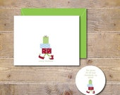 Christmas Cards, Elves, Christmas Elf, Christmas Elves, Holiday Cards, Christmas Card Set, Presents, Handmade, Cards