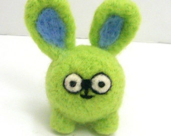 Zvonimir the wee bunny monster- Needle felted