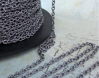 Gun Metal Black chain - Sir Arthur - 10 Foot - Steampunk  - Black Cross Chain