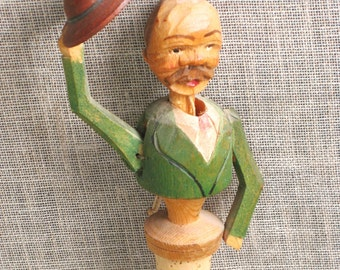 Bottle Stopper , Anri , Hand Carved , Decorative Stopper , Folk Art , Bar Ware , Wood Carving , Male Figure , Male Portrait , Man in Hat