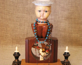 Assemblage Art Sculpture , Doll Art , Male Portrait, Bust, Wil Shepherd, Sailor Sculpture, Found Object, Sculpture, Wil Shepherd Studio