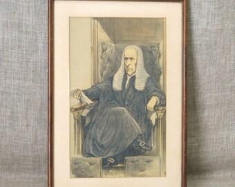 Male Portrait , Antique Prints , 1870s , Vanity Fair Plate , Framed Book Plate , Antique Print , Portraiture , European , Vintage Art