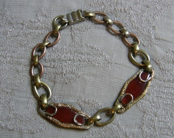 Vintage link bracelet with carnelian glass circa the 1930's