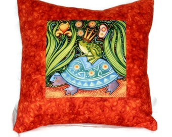 Quilted Pillow Cover Folk Art Frog Prince Riding on a Turtle with Rust Border