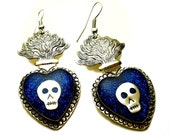 Iconic Mexican Silver Sacred Flaming Heart Earrings with Skulls, Indigo Blue Glitter, & Resin - Corazon Sagrado