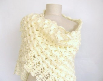 Wedding Shawl / Bride Shawl / Bridal Shawl / Shrug / Off-white Shawl / Wedding Shawl / Cream Bridal Shawl