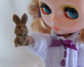 Mini PET Bunny Rabbit doll size w bed n blanket Blythe, Barbie n many more