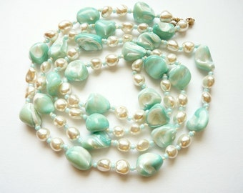 Vintage Natural Pearl Rope Necklace with Turquoise Mother of Pearl Beads