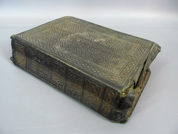 Vintage 1950 Large Holy Bible Golden Book By