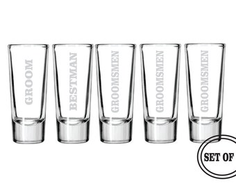 5 ENGRAVED SHOT GLASSES Favor Groomsmen Gifts Wedding Party Gift Engraved Beer Glasses Groomsman Best Man Gift Toasting Etched Shot Glass