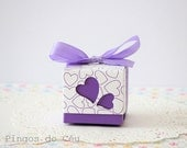 40 pcs - Paper Gift Box - Puple Box - Heart Box - Wedding Events - 40 pcs - Ready to Ship.