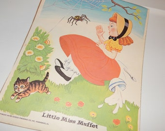 Antique Children's Nursery Rhyme Poster Print by Hayes School Publishing Co. of ''Little Miss Muffet''