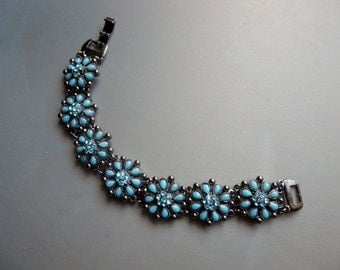 90s Retro Silver Tone Blue Plastic Faux Turquoise and Real Crystal Accented Bracelet