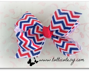 Chevron Red White and Blue Hair Bow