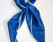 Lovely Vintage Silk Scarf with White Trim