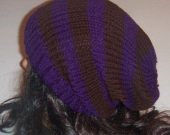 Purple and Brown Slouchy Knit Hat, Knitted Beanie