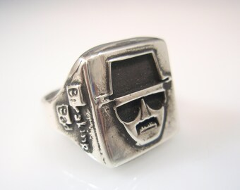 Breaking Bad HEISENBERG Portrait Ring Solid Sterling Silver 925