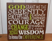 Serenity Prayer Sign/Inspirational/Subway Style/Courage/Wisdom/Brown/Citron Green