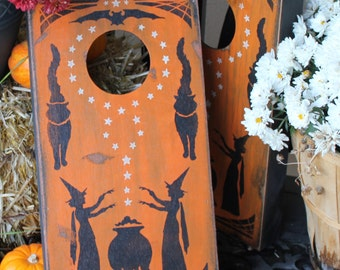 Halloween Bag Game/Corn Hole Mini/Vintage Style/Carnival Style/wood hand painted/Halloween Sign