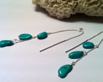 Turquoise Threader Earrings, Silver Earrings with Blue Goose Turquoise Stones, Nevada Turquoise Earrings, 4 1/2 Inch Length