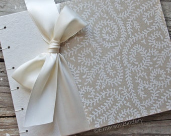 Bridal Shower Guest Book, Ivory Wedding Guest Book, White Vines, {MADE upon ORDER}