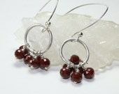 Red Cluster Earrings - Burgundy Red Sterling Silver Dangle Earrings Crystal Clusters, Holiday Jewelry