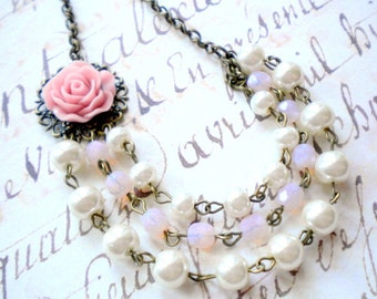 Pink Necklace Multi Strand Pearl Necklace Pink Bridesmaid Necklace Pearl And Flower Necklace Pale Pink Wedding Jewelry Bridesmaid Gift