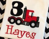 Truck Birthday Shirt- Personalized Boys Birthday Shirt- Big Truck Applique Birthday Shirt- Mac Truck Birthday Shirt