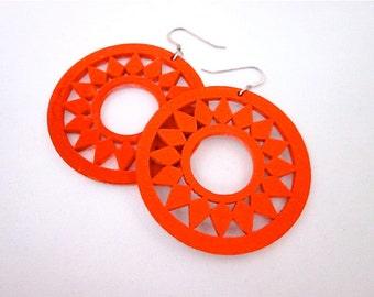 Orange & White Earrings -- Orange Hoops -- Reversible Earrings -- Bright Orange Earrings -- Neon Orange Earrings -- Neon Wood Earrings