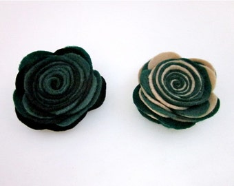 Green & Black Pin -- Green Fabric Brooch -- Dark Green Pin -- Green and Tan Clip -- Dark Green Flower Pin -- Green Black Tan Clip -- Felt