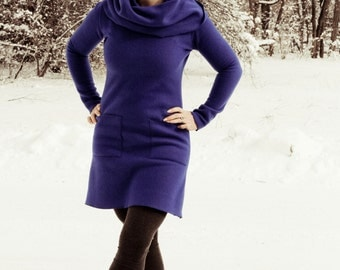 Organic Clothing - Cowl Neck Dress (organic cotton fleece or french terry )