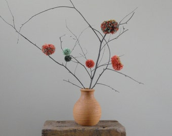 Pom Pom Flowers - Rustic Centerpiece - Country Wedding Decor - Minimalist Decor - Simple - Rust and Green - Fiber Flowers - Natural Twigs
