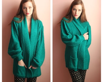 SALE Long Knit Top / Open Teal Green Cardigan Sweater / Knitwear / 1980's Winter Sweater / Spring Layering Piece / Size Small-Medium-Large