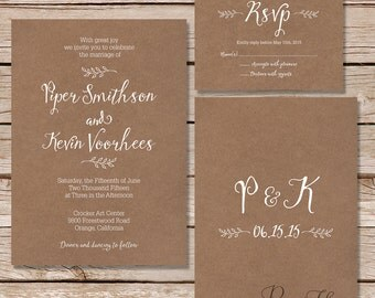 Calligraphy Wedding Invitation and RSVP card / kraft paper wedding invitations