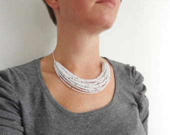 White bib necklace layered statement necklace grey sparkle multi stranded necklace for women