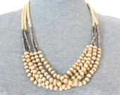Vintage Multistrand Faux Ivory Necklace with Silver Beads